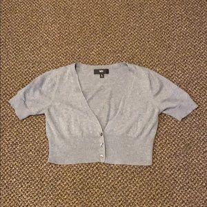 Gray Short Sleeve Cardigan Shrug